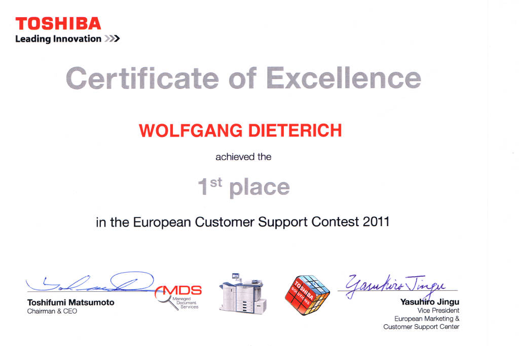 Certificate of Excellence 1st place in the European Customer Support Contest 2011.
